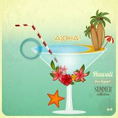 picture of tiki  - Summer card in Vintage Style - JPG