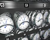 Many clocks in a vending machine to illustrate the importance and fleeting nature of time and the de