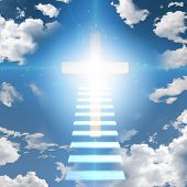 stock photo of ascension  - Stairway leads to cross and glowing light - JPG