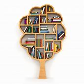 Tree of knowledge. Bookshelf on white background. 3d