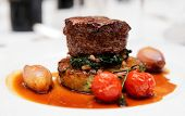 stock photo of chateaubriand  - Tenderloin steak with spinach - JPG
