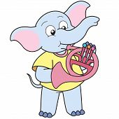 Cartoon Elephant Playing A French Horn