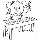 Cartoon Bear Playing A Vibraphone