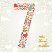 The number Seven. Bright floral element of colorful alphabet made from birds, flowers, petals, heart