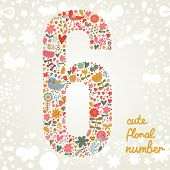 stock photo of six-petaled  - The number Six - JPG