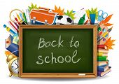 stock photo of green wall  - Back to school - JPG