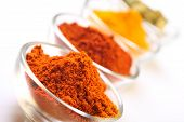 pic of indian food  - a mixture of spices turmeric chilli cayenne powder and cardamom seedpods