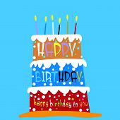 stock photo of christening  - Vector illustration of a cute birthday cake - JPG