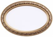 picture of oval  - oval gilded picture frame or mirror isolated on white - JPG