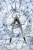 image of protractor  - Protractor on the background of mathematical formulas and algorithms - JPG