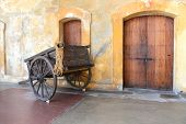 Old wooden cart in Old San Juan Puerto Rico - Castillo San Cristobal