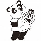 Cartoon Panda Playing A French Horn
