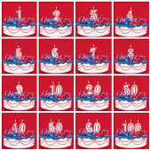 Number candles on vibrant frosted cake with ribbons.  Useful collection, with vibrant red background