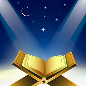 stock photo of islamic religious holy book  - Open Islamic religious holy book Quran Shareef in shiny moonlight night - JPG