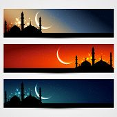 foto of namaz  - vector set of islamic headers - JPG