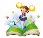 pic of storybook  - Illustration of a green storybook with a cheerdancer on a white background - JPG