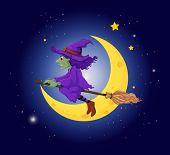 Постер, плакат: Иллюстрация ведьмы с фиолетовый шляпа верхом на метле
