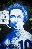 Graffiti on the wall: $10 New Zealand Note  Kate Sheppard poster