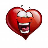 stock photo of laugh out loud  - Cartoon Illustration of a Heart Face Emoticon laughing out loud - JPG
