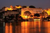 City Palace Complex At Night, Udaipur, Rajasthan, India