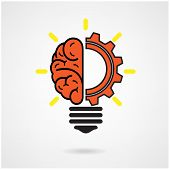 picture of gear  - Creative brain Idea concept background design vector illustration - JPG