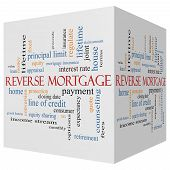 Reverse Mortgage 3D Cube Word Cloud Concept
