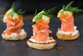 Blini With Smoked Salmon And Sour Cream, Garnished With Dill. Close-up View