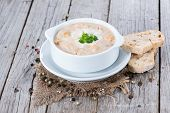image of chanterelle mushroom  - Homemade Chanterelle cream Soup with fresh herbs - JPG