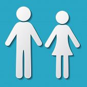 image of gender  - White vector man and woman icons with shadows - JPG
