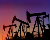 picture of oil derrick  - Illustration of three oil wells in the desert at dusk - JPG