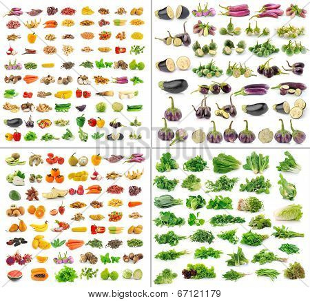 Fruit And Vegetables Collection Isolated