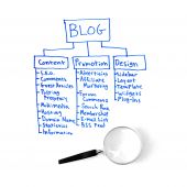 pic of marketing plan  - A written out strategy for a blog plan written with a blue marker isolated on white background for study - JPG