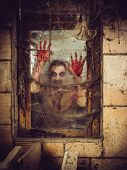 foto of spiderwebs  - zombie outside a window that is covered with blood spiderwebs and filth - JPG