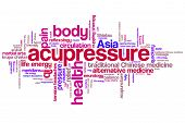 stock photo of acupressure  - Acupressure alternative medicine issues and concepts word cloud illustration - JPG