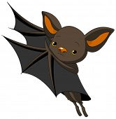 image of bat wings  - Cute Cartoon Halloween bat presenting with his wings - JPG