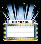 stock photo of movie theater  - Vintage art deco vector movie marquee with neon lights and floodlight shining up into the night sky with stars and copy space for show dates times and titles available in several different colors and layout in gallery - JPG