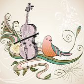 foto of string instrument  - hand drawn of classical stringed music instruments - JPG