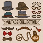 picture of tobacco-pipe  - Vintage gentleman set of hats glasses mustaches and tobacco pipe stickers isolated vector illustration - JPG