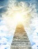 stock photo of stairway  - Stairway leading up to bright light  - JPG