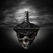 pic of dangerous  - Dangerous advice and bad direction concept as a glowing lighthouse beacon on a rock island shaped as an underwater human skull on a dark background as a metaphor for dishonesty and deception - JPG