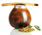 stock photo of calabash  - Calabash and bombilla with yerba mate isolated on white - JPG