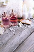 picture of jasmine  - Spa composition with jasmine flowers on table close - JPG