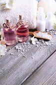stock photo of jasmine  - Spa composition with jasmine flowers on table close - JPG