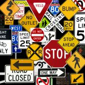 stock photo of railroad-sign  - Montage of Numerous Traffic Control Signs and Signals - JPG