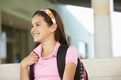picture of pre-teen girl  - Pre teen girl at school - JPG