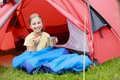 stock photo of sleeping bag  - Camp in the tent  - JPG