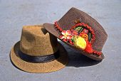 picture of panama hat  - A collectrion of fedora and panama hats. One of fedoras with Kuna Ayala panamenian indian crafts.