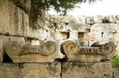 stock photo of akropolis  - Closeup of old greek columns capitals at the Akropolis - JPG