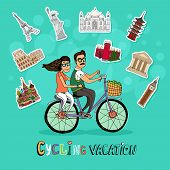 picture of tandem bicycle  - Couple on a Cycling Vacation riding a tandem bicycle together past a set of worldwide icons of famous tourist destinations with the text below  hand - JPG