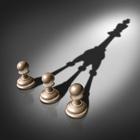 pic of merge  - Together success joining forces business concept for team leadership strategy as three chess pawn pieces casting a merging shadow shaped as the king representing teamwork partnership and successful group planning  - JPG